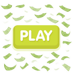 Play game concept dollar money rain hundred vector