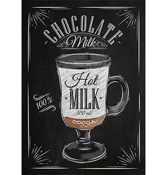 Poster chocolate milk chalk vector