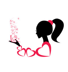 profile of a girl or a woman vector image