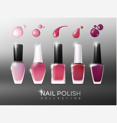 realistic nail polish collection vector image