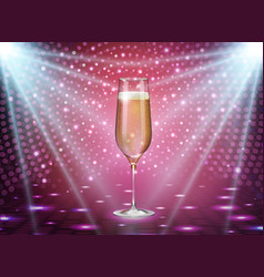 realistic of champagne glass on pink background vector image
