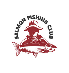 salmon fishing club emblem with fisher and trout vector image