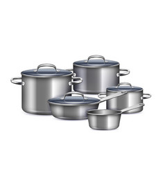 saucepan realistic set vector image