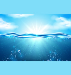 sea underwater sunbeam blue sky clouds vector image