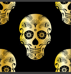 seamless pattern of golden mexican sugar skull vector image