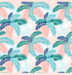 seamless pattern tropical palm leaves flat vector image