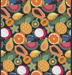 seamless pattern with different tropical vector image
