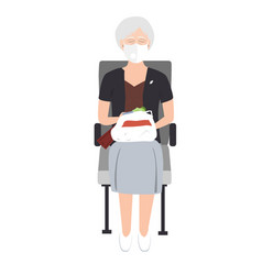 senior woman in medical mask sitting on train vector image
