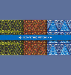 set ethnic seamless patterns with geometric vector image