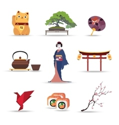 set japan isolated travel colorful flat icons vector image