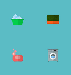Set of cleaning icons flat style symbols with vector