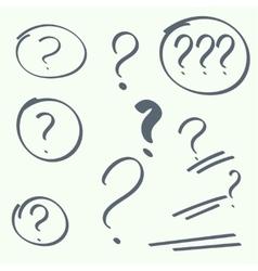 Set of handwritten question marks vector