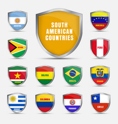 Set shields with flags south american vector