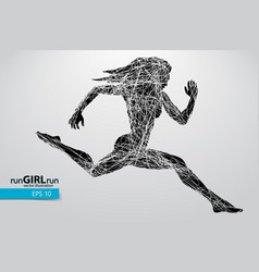 silhouette a running female vector image