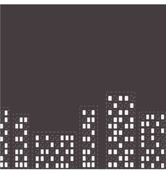 Silhouette of the night city Dash line Flat design vector image