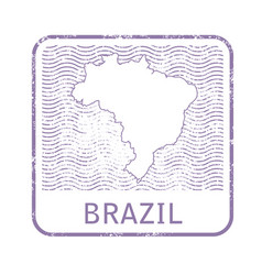 Stamp with contour of map of brazil vector