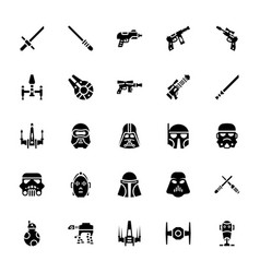 Star wars glyph icons vector