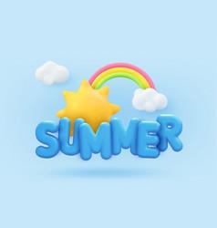 summer 3d banner design realistic render scene vector image