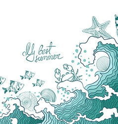 Summer of ocean waves and marine life vector image vector image