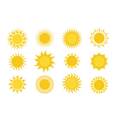 sun icons round simple graphic element collection vector image