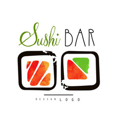 Sushi bar logo japanese food label badge for vector