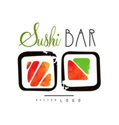 sushi bar logo japanese food label badge vector image