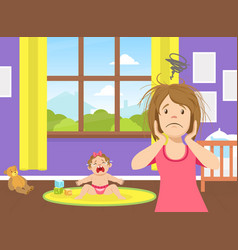 tired stressed young mom standing next to crying vector image