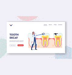tooth decay landing page template tiny dentist vector image