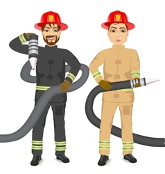 two happy firemen holding hose vector image
