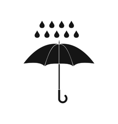 Umbrella and rain drops icon simple style vector