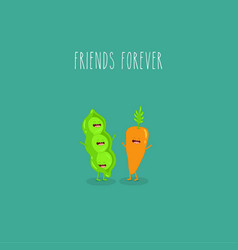vegetables green pea and carrot friends forever vector image