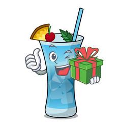 with gift blue hawaii mascot cartoon vector image