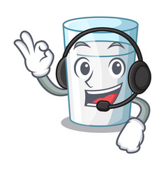 With headphone cartoon sweet milk glass for vector