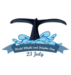 world whale and dolphin day july 23 vector image