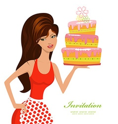 beautiful woman with birthday cake for your design vector image vector image