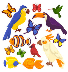 exotic birds tropical fishes and butterfly vector image vector image