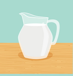 farm milk carafe on the table vector image vector image