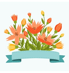 Flowers with ribbon vector image