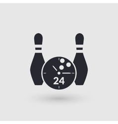 Icon bowling with clock face Day and night vector image
