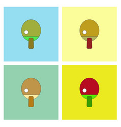 Ping pong table tennis icon collection vector