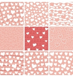 Abstract Hearts Seamless Patterns Set vector image vector image