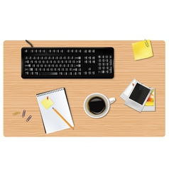 black keyboard and office supplies vector image vector image