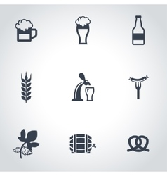 black Oktoberfest icon set vector image