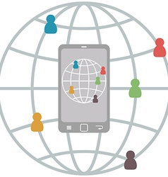 Flat Mobile Infographic of connect people vector image