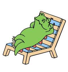 funny dinosaur resting on a deck-chair vector image vector image