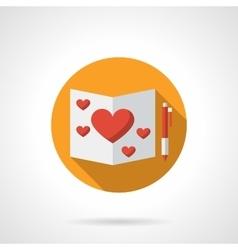 Romantic feelings yellow round flat icon vector image vector image