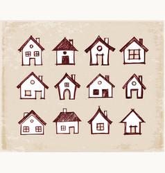 sketch of houses on vintage background vector image