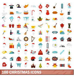 100 christmas icons set flat style vector image