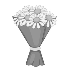Bouquet of flowers icon gray monochrome style vector