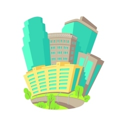 Cartoon icons with group of multistory vector